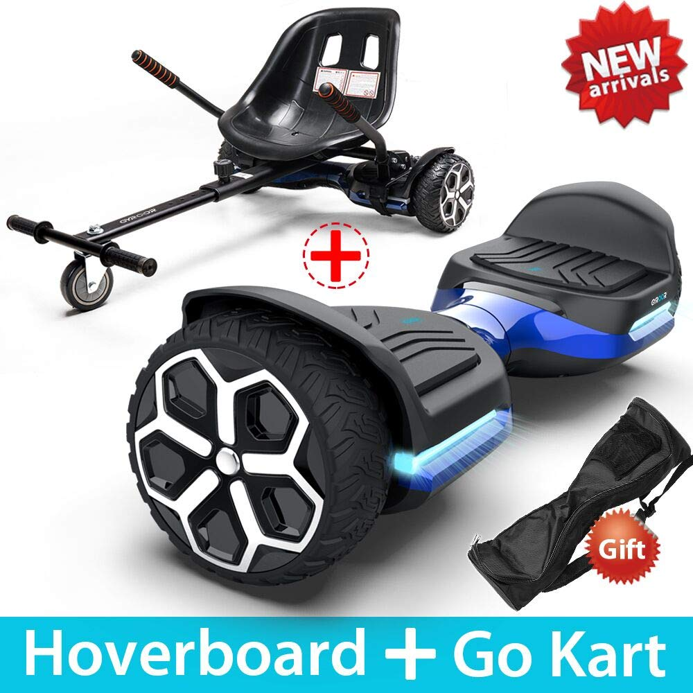 Gyroor T581 Hoverboard 6.5'' Off Road All Terrain Hoverboards with Bluetooth Speaker&LED Lights Two-Wheel Self Balancing Hoverboard with Kart Seat Attachment UL2272 Certified for Kids & Adults(Blue)