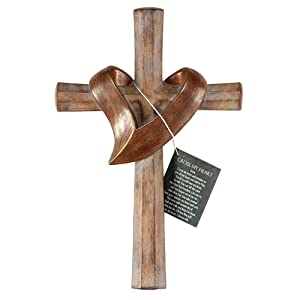 Cross With Heart Sash Distressed Patina Bronze Tone 6 x 11 Resin Stone Wall Sign Plaque