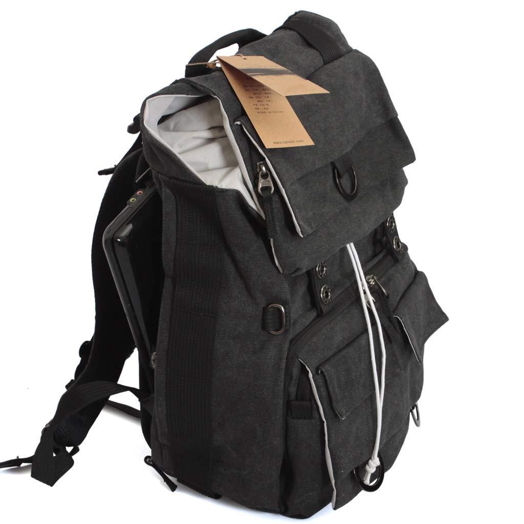ヴィンテージキャンバス プロフェッショナル 一眼レフカメラバッグ 写真バッグ ショルダー 防水 大容量 男性 バックパック (色:ブラック) B07P9XKR9H