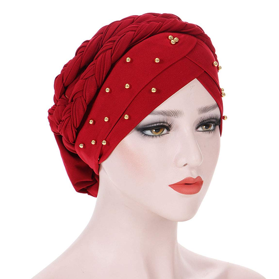 ACVIP Women's Beaded Solid Color Indian Muslim Headwrap Headwear 8AC08Y24M-3