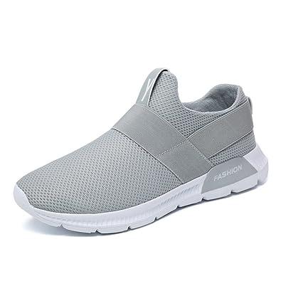 Homme Chaussure Sport sans Lacet Sneakers Jogging Chaussure de Course  Running Basket Basse Loisir Confortable Légère 9d0faf98d5df