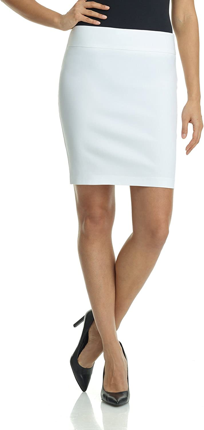 Rekucci Women's Ease Into Comfort Above The Knee Stretch Pencil Skirt 19 inch