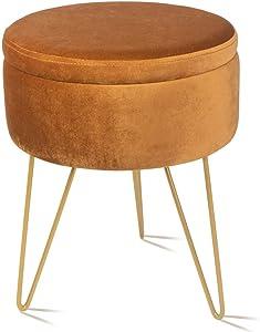 Velvet Storage Footrest Stool Dressing Upholstered Vanity Chair Round Ottoman with Golden Metal Legs for Home Living Room Bedroom, Brown