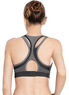 e4478ecc5e9ea Yvette Women Criss Cross Back No Bounce Wirefree Yoga Sports Bra for Large  Busts Women for