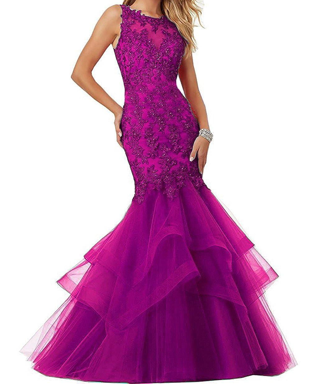 Dark Fuchsia Ellenhouse Women's Applique Tulle Long Mermaid Prom Party Evening Dresses EL189