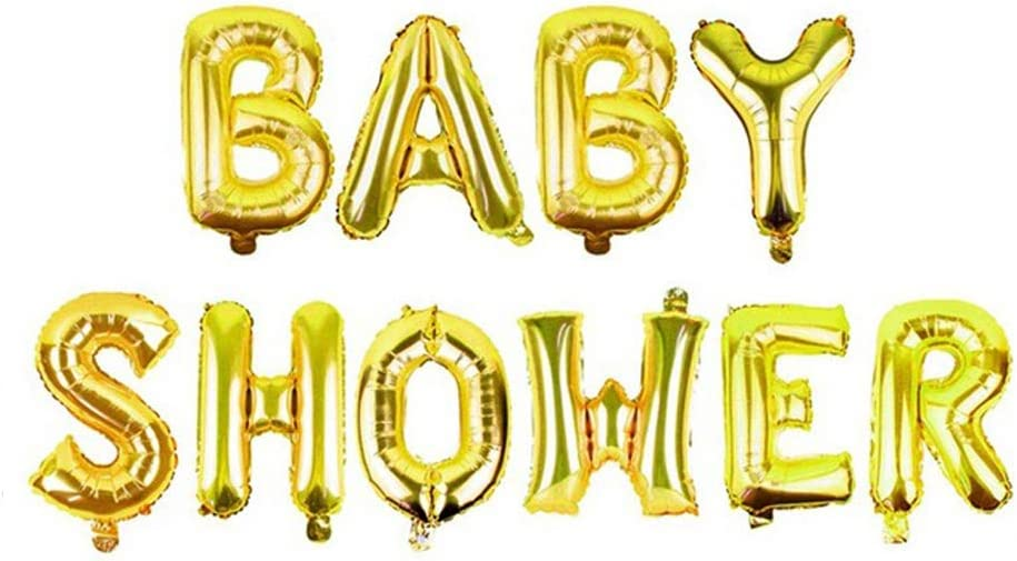 AnnoDeel 16inch BABY SHOWER Letter Foil Balloons,Gold Alphabet Mylar Balloons for Mother Baby Shower Birthday Party decorations Supply