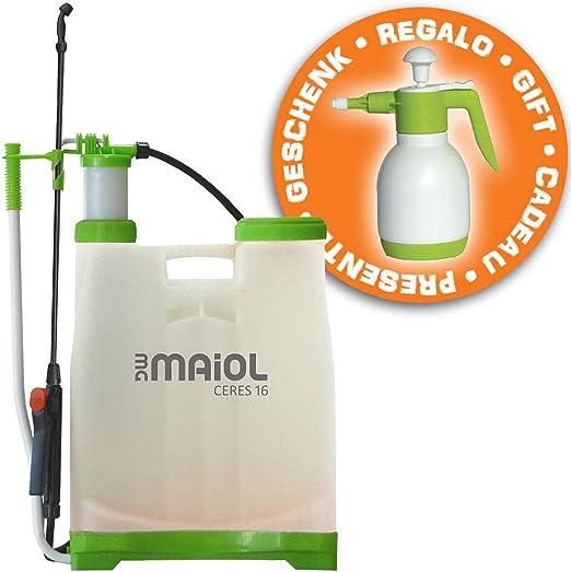 Juego pulverizador Agua 16 litros Ceres + pulverizador a presion 1, 5 litros de Regalo Maiol: Amazon.es: Jardín