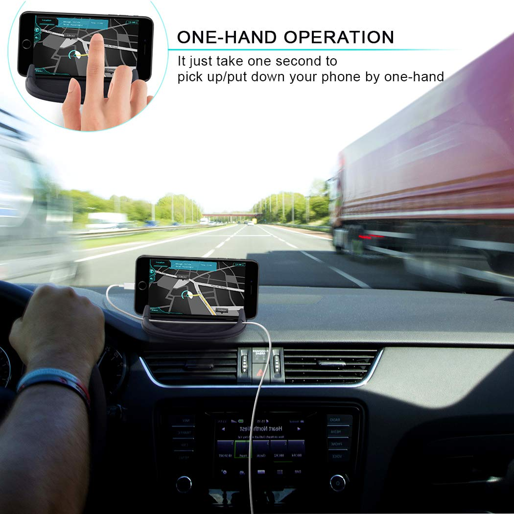 Car Phone Holder, HokoAcc Car Phone Mount Anti-slip Silicone Dashboard Car Pad Mat, for iPhone X/8 Plus/7 Plus/6/6S Plus, Samsung Galaxy S8 Plus/Note 8/S7 and Other 3.0-7 inch Devices by HokoAcc (Image #3)