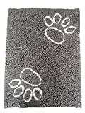 FELICIA SHARKEY Chenille anti-slip pet pad microfiber dog door mat (Large(26in x35.5in), Gray and White)
