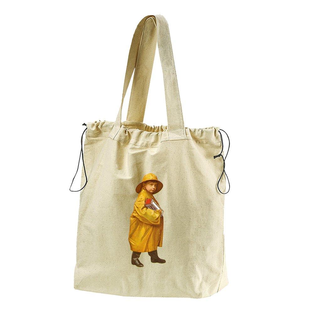Boy In Yellow Coat Vintage Look Canvas Drawstring Beach Tote Bag