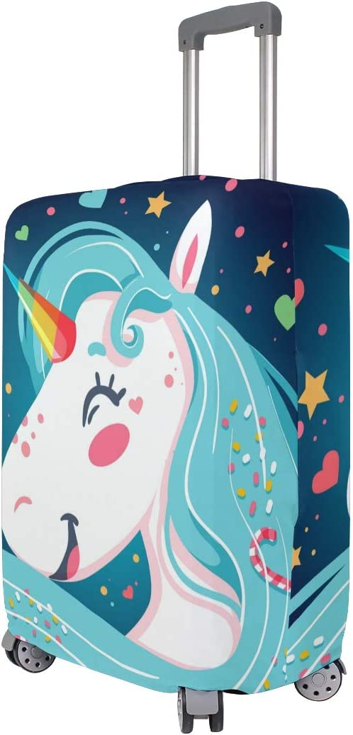 FOLPPLY Magical Unicorn Love Candy Luggage Cover Baggage Suitcase Travel Protector Fit for 18-32 Inch