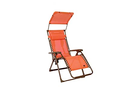 Bliss Adjustable Reclining Outdoor Lounge Zero Gravity Chair With Headrest,  Orange