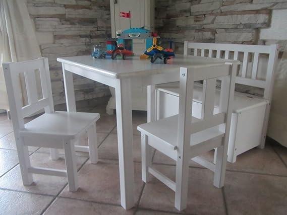 Kindersitzgruppe 1 Tisch 2 Stühle 1 Kindersitzbank mit Deckelbremse NATUR WEISS