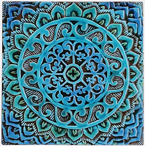 . Amazon com  30cm ceramic tile  decorative tile in blues and greens