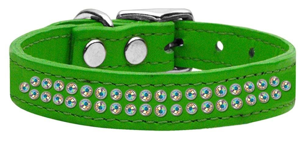 16\ Mirage Pet Products Two Row Aurora Borealis Jeweled Leather Emerald Dog Collar, 16