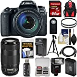 Canon EOS 77D Wi-Fi Digital SLR Camera & EF-S 18-135mm 70-300mm is USM Lens + 64GB Card + Backpack + Flash + Battery & Charger + Tripod Kit