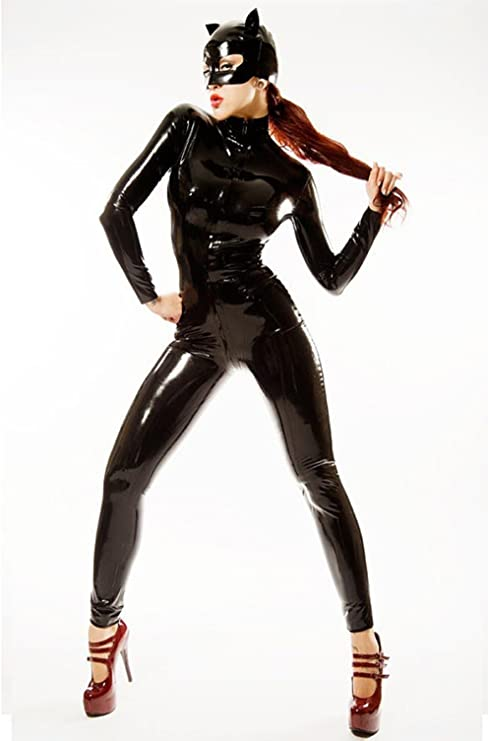 Ladies Real PVC Catsuit Superhero Costume Cat Woman Wetlook PVC Dress Costume