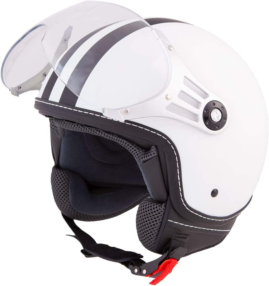 ECE zertifiziert XS-XL L, Rot Roller Jet Helm mit Streifen in Gr Motorradhelm mit Visier Vinz Rollerhelm Jethelm Fashionhelm