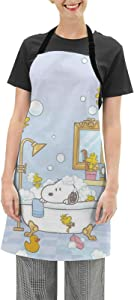 WOMFUI Shower Snoopy Apron Cartoon and Waterproof Pinafore for Home