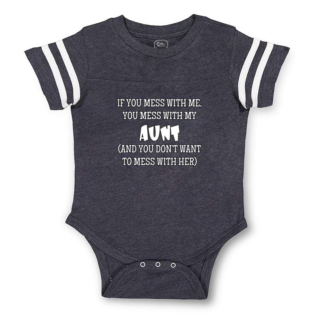 If You Mess with Me You Mess with My Aunt Cotton Baby Football Bodysuit