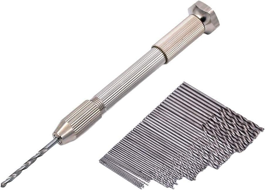DANDANdianzi 51PCS Set Mini Micro Aluminium perceuse /à Main perceuse 50pcs Torsion en Acier en Acier /à Haute Vitesse en Bois Foret Assortiments Outils rotatifs Bois Forage