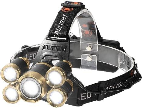 Shanke Linternas Frontal LED Linternas de Cabeza Alta Potencia 8000 Lúmenes, 4 Modos de Iluminación Batería Recargable para Camping, Running, Caza, ...