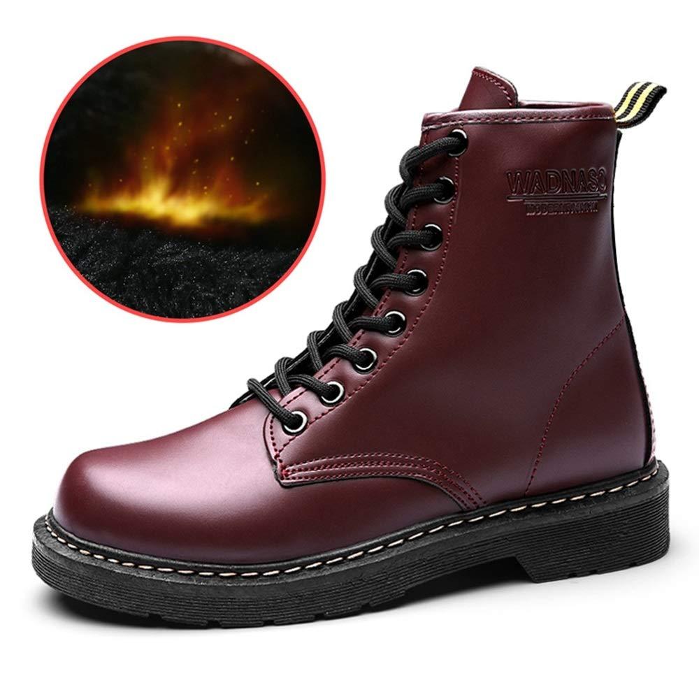YAN Herrenschuhe Microfiber Fall & Winter Fashion Deck Schuhe High-Top-Turnschuhe Lässig Täglich Wanderschuhe Schwarz-Rot Beige,B,39
