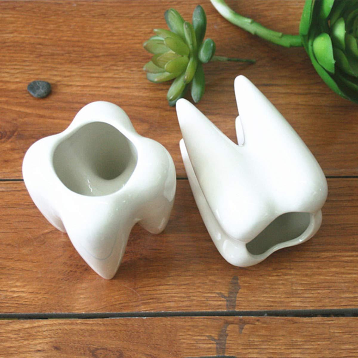Lovinn - Juego de 2 macetas de cerá mica para jardí n, diseñ o de dientes, color blanco diseño de dientes