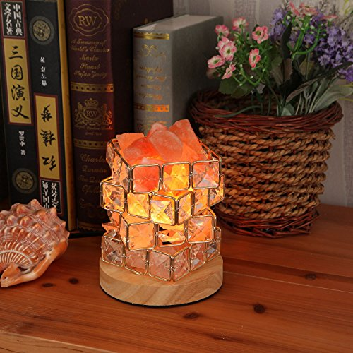 SODIAL Himalayan Salt Lamp,Natural Hymalain Salt Rock in Crystal Basket with Dimmer Switch,UL-Listed Cord &Wood Base US Plug by SODIAL (Image #2)