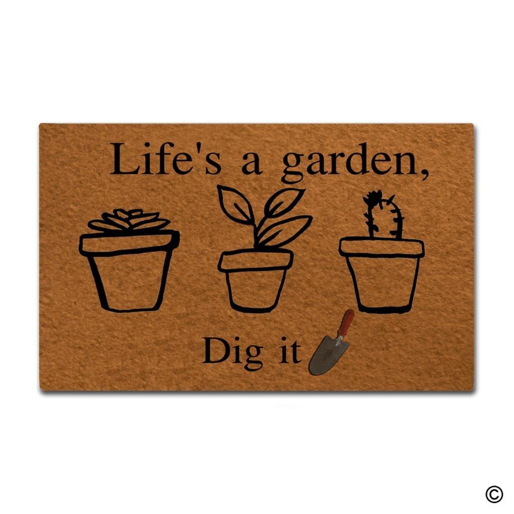 Amazon.com : MsMr Doormat Entrance Floor Mat Life\'S A Garden£¬Dig It ...