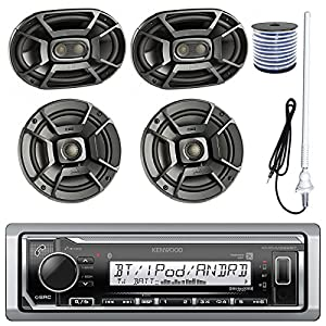 "Kenwood KMR-M315BT MP3/USB/AUX Bluetooth Marine Boat Yacht Stereo Receiver Bundle Combo W/ 2 Polk 6.5"" Audio Speakers + 2x 6X9"" 3-Way Coaxial Speaker + Enrock 22"" Radio Antenna + 50FT Speaker Wire"