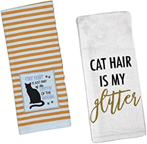 Funny Cat Lover - Hair is My Glitter and Part of House Décor - Kitchen Dishtowel Set of 2 Decorative and Functional Tea Towels