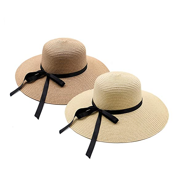 43faf546 Opromo Women's Foldable Floppy Large Wide Brim Straw Hats Floppy Sun Beach  Cap-Assorted