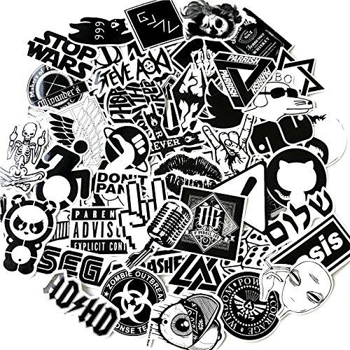 greestick Sticker Bomb Set Schwarz/weiß 60 Stk Aufkleber Stickerbomb für Auto Skateboard Helm Longboard Laptop Snowboard Vinylaufkleber Gepäck Decals greework