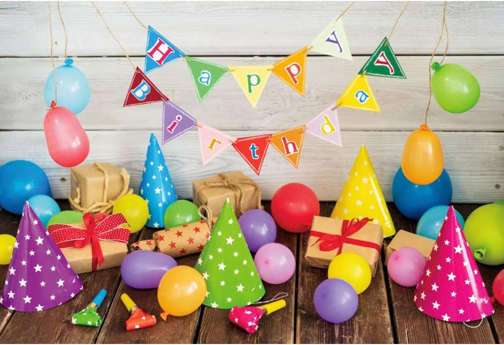 YEELE Happy Birthday Party Backdrop 10x8ft Kids 1st Birthday Photography Background First Birthday Boys Girls Room Decoration Cake Smash Party Table Photobooth Props Digital Wallpaper