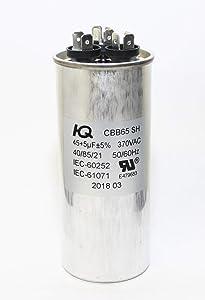 QH QX654505 Capacitor Dual Run Round 45 + 5 uF 45/5 MFD 370V.
