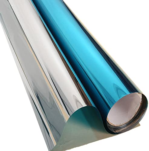 HOHOFILM 60 x100ft Roll One Way Vision Solar Tint Window Film Blue Silver Reflective Glass Decal Film for Home,Building