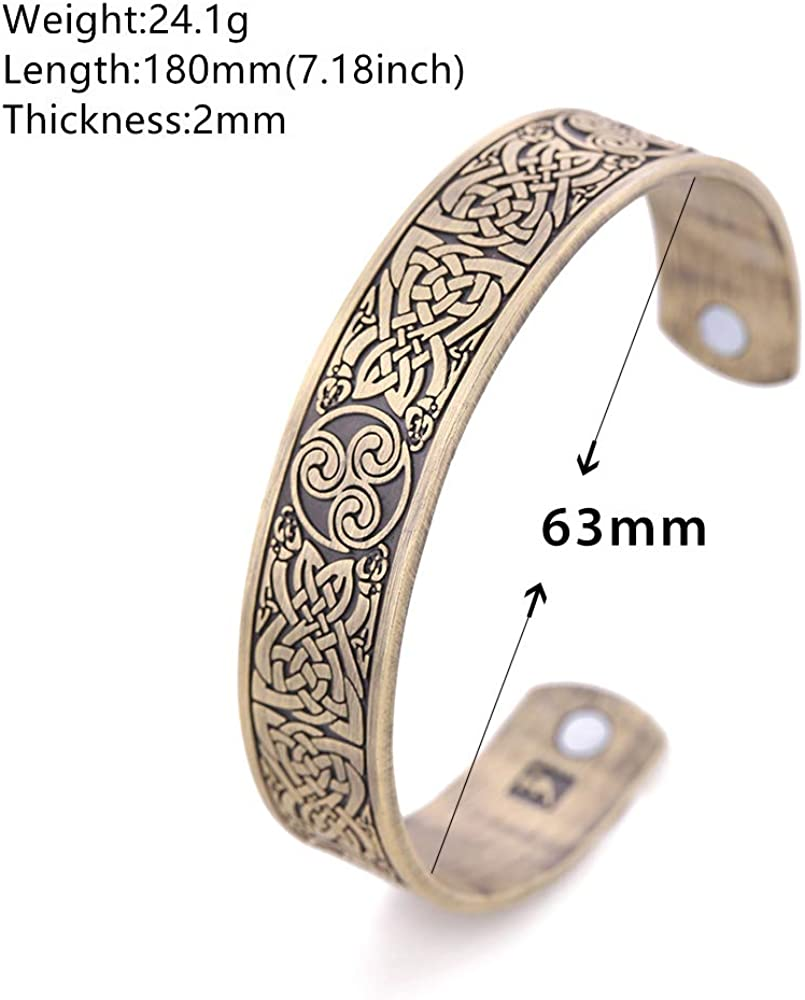 EUEAVAN Simple Magnetic Care Round Head Cuff Bracelet for Easing Fatigue,Blood Circulation