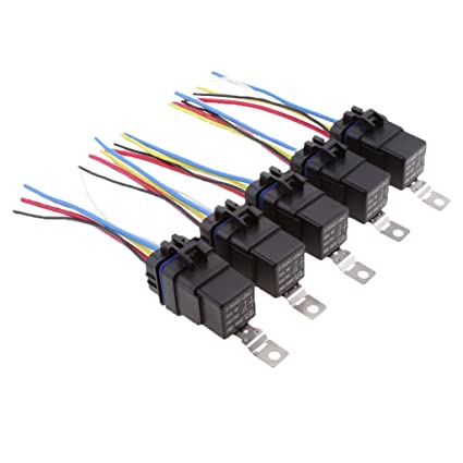 5 Sets Car DC 12V Volt 40A SPDT Automotive 5Pin 5 Wire Relay ...  Wire Relay Harness on