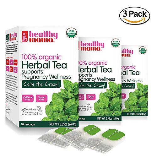 - Healthy Mama Calm The Crazy! Organic Morning Sickness Relief Tea. (3) Pack Caffeine Free Herbal Tea with Ginger, Rosehips, Raspberry, and Peppermint. Helps Nausea, Constipation, Upset Tummies