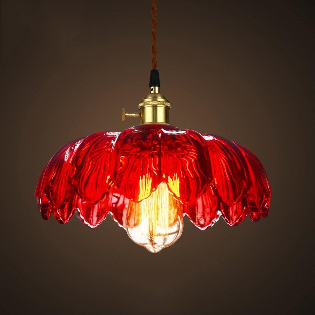 Beleuchtung Glas-Kronleuchter, American Style Retro Bar Cafe Bar Farbe Lotus Glas Lampe Innenleuchten (Farbe   C)