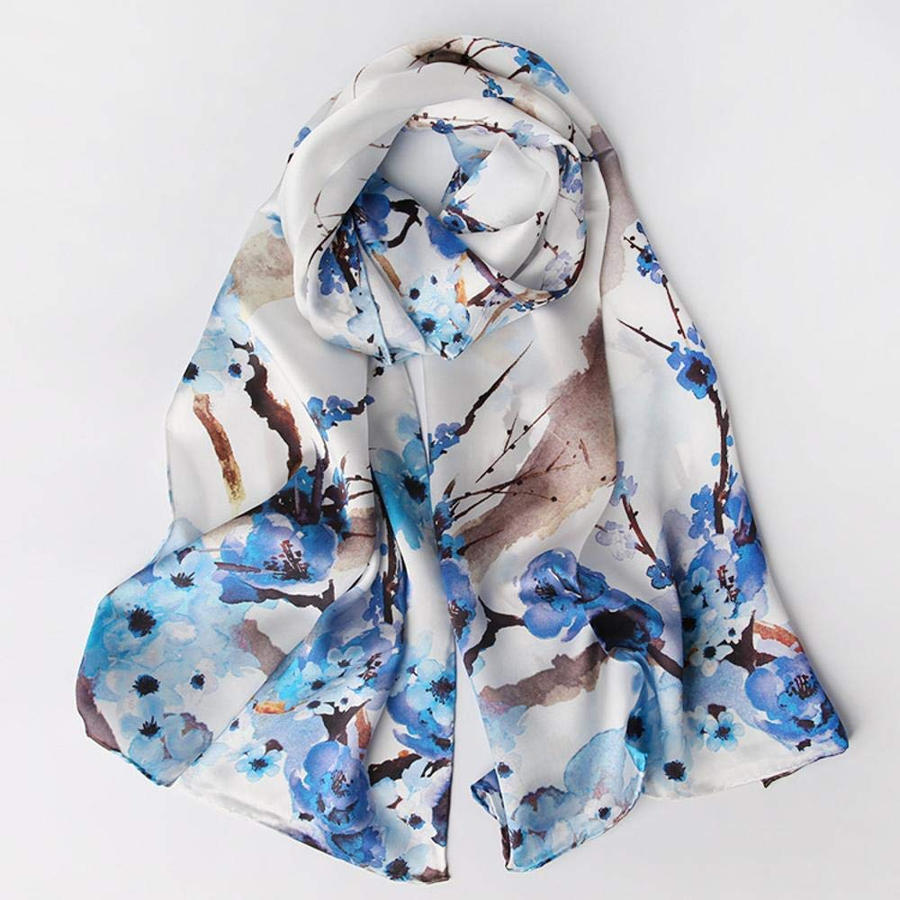 bluee Paioup Ladies Silk shawl silk scarf slim breathable birthday gift Perfectly expresses unique temperament