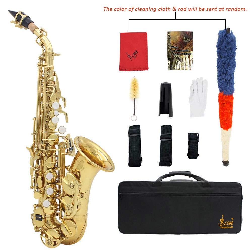 ammoon LADE Brass Golden Carve Pattern Bb Bend Althorn Soprano Saxophone Sax Pearl White Shell Buttons Wind Instrument with Case Gloves Cleaning Cloth Belt Brush