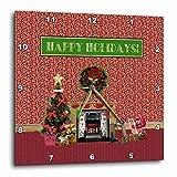 3dRose Beverly Turner Christmas Design - Christmas Room, Fireplace, Tree, Toys, Happy Holidays - 10x10 Wall Clock (dpp_267930_1)