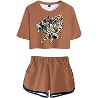 Hifoda Camiseta y Pantalones Cortos 3D Anime Fairy Tail Conjuntos Deportivos de Moda Tema Mágico Natsu Gray Lucy para…