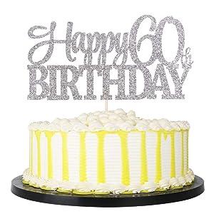 PALASASA Sivler Glittery Happy 60th Birthday Cake Topper,Hello 60,60 Birthday -Anniversary Party Cake Decorations (60th)