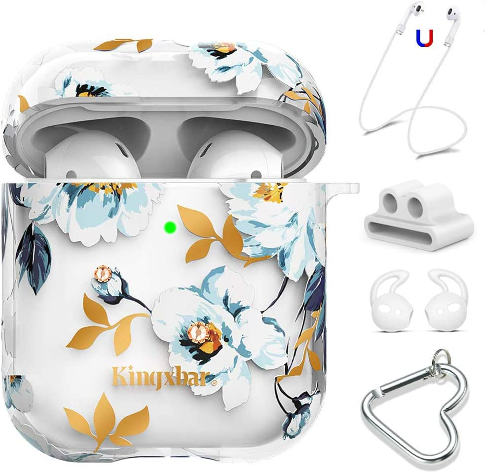 KINGXBAR Airpods Case Cover Clear Hard Cover Bling Crystals from Swarovski Cute Floral Flower Design Protective Skin for Girls with Strap/Ear Hook/Watch Band Holder/Carabiner for Airpods 1 & 2