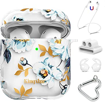 Amazon Com Kingxbar Airpods Case Cover Clear Hard Cover Bling