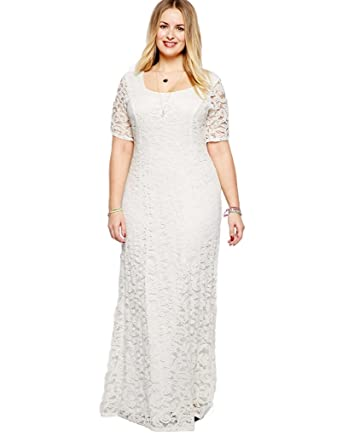 WELVT Romantic 100% Lace Plus Size Dresses Wedding Maxi Dress for Women White 18plus