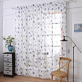 Amazon.com: ChezMax Lavender Pattern Rod Pocket Window ... - photo#18